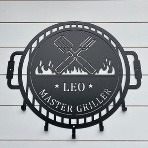 Grill Master Name Sign with Metal Hooks