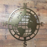 World Map Globe Compass Wall Decor
