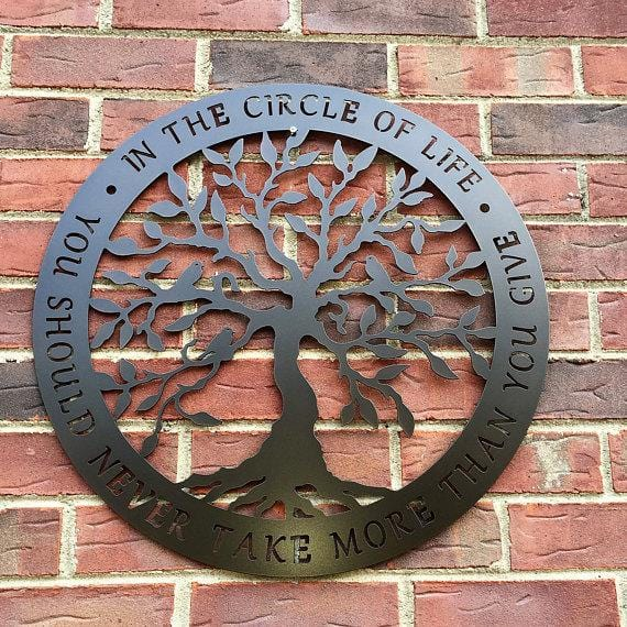 Circle of Life Tree of Life Metal Wall Art or Door Hanger