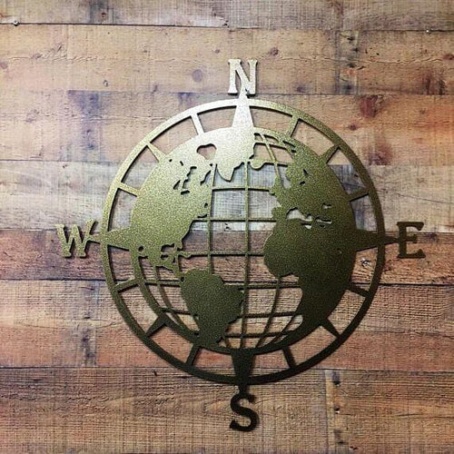 World Map Globe Compass Adventure Themed Wall Art