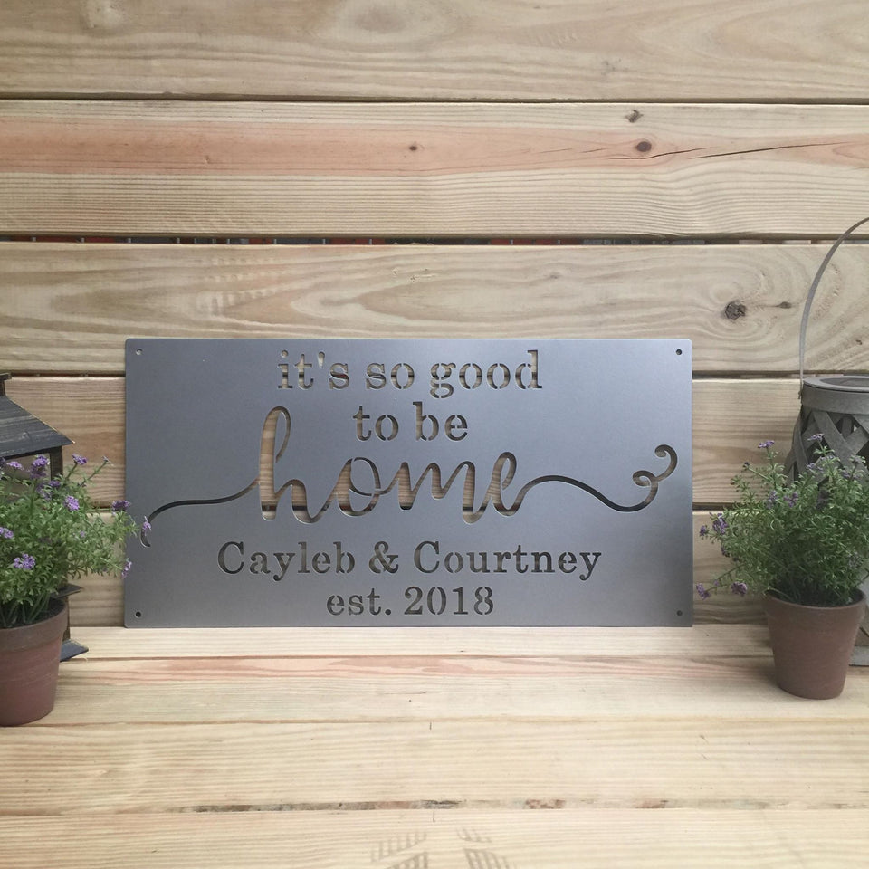 Home Established Sign: It's So Good To Be Home 24 INCH X 12 INCH