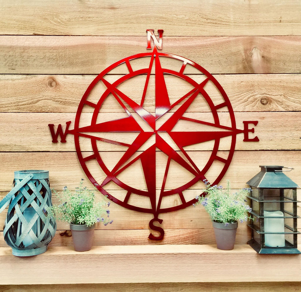 Nautical Compass Rose Metal Wall Art- Various Sizes ...