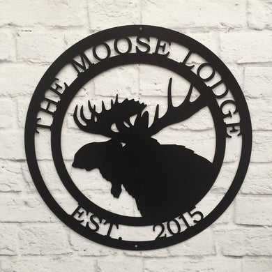 Personalized Moose Hunter Cabin Sign