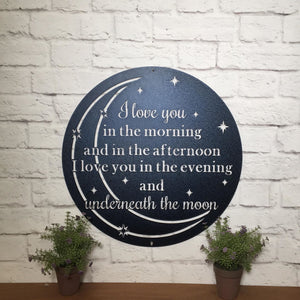 I Love You Quote - Moon Metal Wall Decor