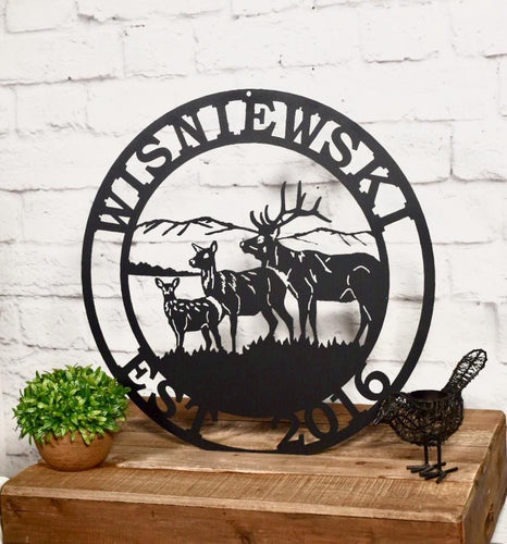 Personalized Elk Deer Hunter Sign- Established Last Name Family Sign