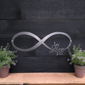 "18"" INFINITY SIGN - ""I love us"" Custom Metal Art  18 INCH WIDE X 7 INCH TALL"