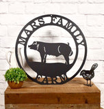 Personalized Pig Farm Metal Sign