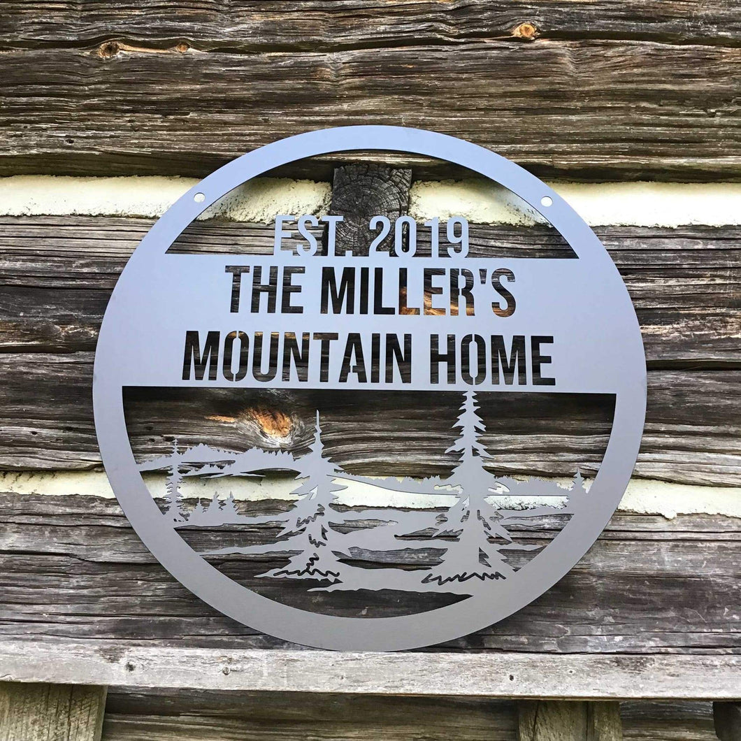 Custom Metal Family Mountain Sign with trees