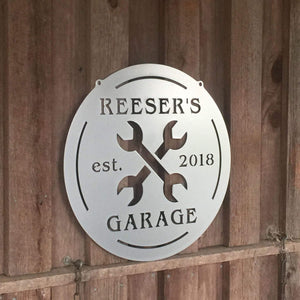 Custom Metal Garage or Tool Shed Sign