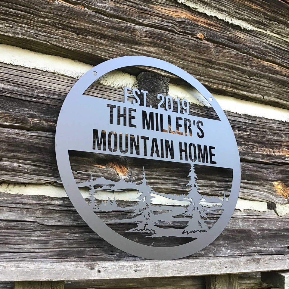 Custom Metal Family Mountain Sign