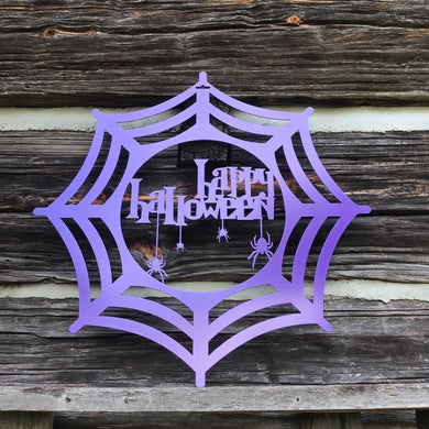 Spooky Happy Halloween with Spiders Metal Sign