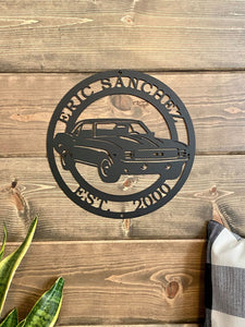 Personalized 1969 Chevrolet Camaro Sign