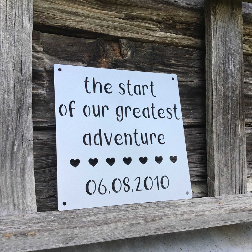 Our Greatest Adventure Personalized Metal Sign