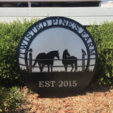 Personalized Horse & Raven Farm Sign in Two Colors