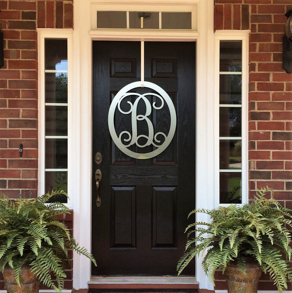 Oval Metal Monogram Door Wreath- 12  18  or 24 - Over 90 Color Choices & 24