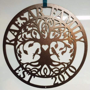 """Love Birds"" Tree of Life Family Established Sign"