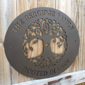 """Rooted in Love"" Tree of Life Family Name Sign"