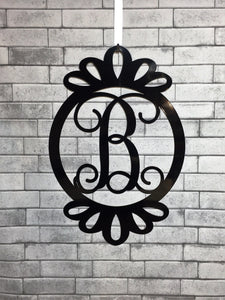 Fancy Scalloped Monogram Door Wreath