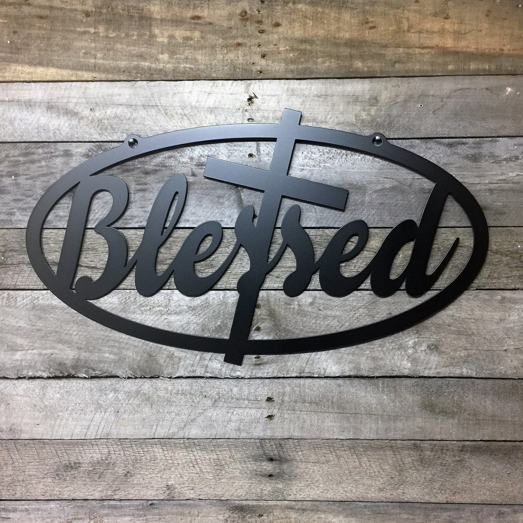 metal blessed sign