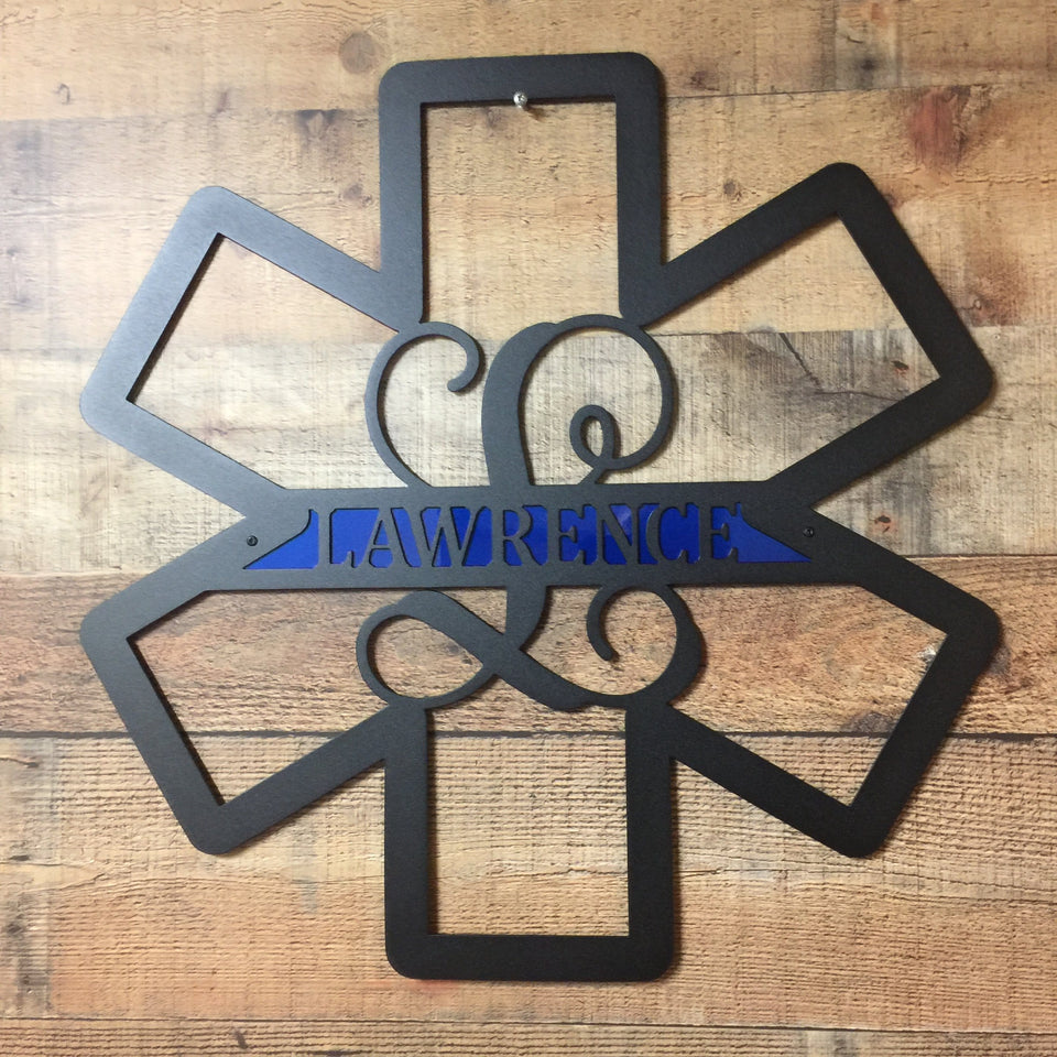 EMS Paramedic Star of Life Door Wreath