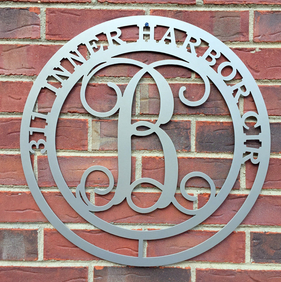 Round Monogram Address Sign