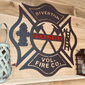 Maltese Cross with Axes,  Latter & Hydrant | Monogram Door Hanger, Firefighter gift, Firefighter decor