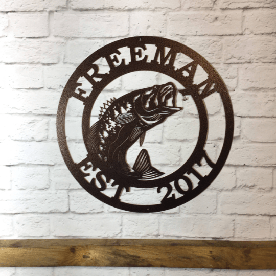 METAL SIGN with Large mouth Bass FISH | Fishing Sign