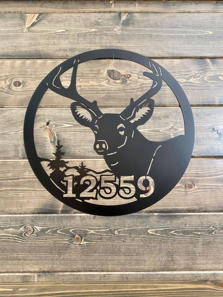 Personalized Deer Address Cabin Sign -- Custom Metal Sign