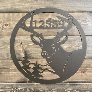 Address in Antlers Personalized Deer Cabin Sign -- Personalized Mountain Sign