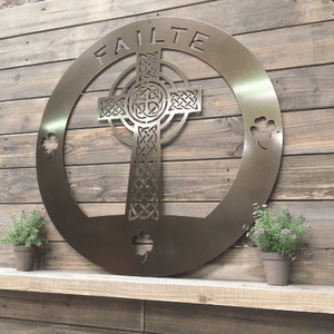 Celtic Cross of Life Family Name Sign -- Custom Metal Sign
