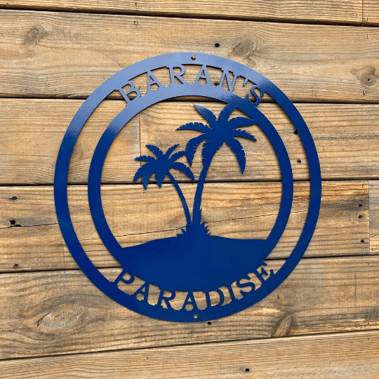 Beach Palm Tree Personalized Metal Sign