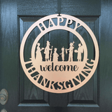 THANKSGIVING HARVEST WREATH:  Pilgrims & Indians Thanksgiving Welcome Sign