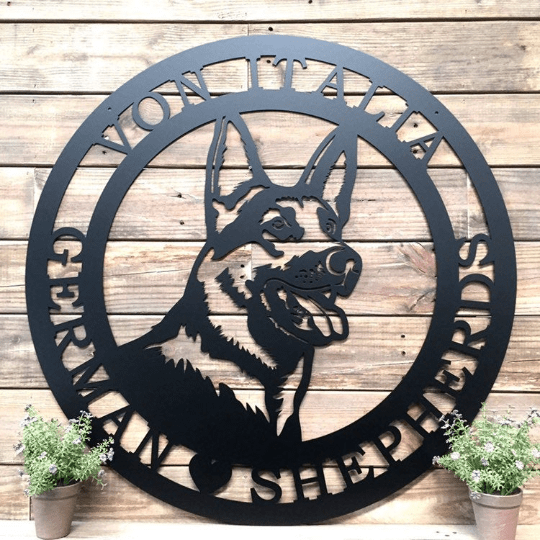 German Shepherd Established Door Wreath -- Custom Metal Sign