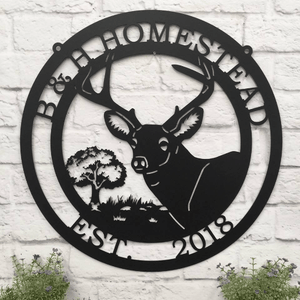 Personalized Deer Sign with Oak Tree