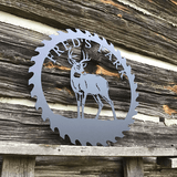 Personalized Deer Sawblade Metal Sign