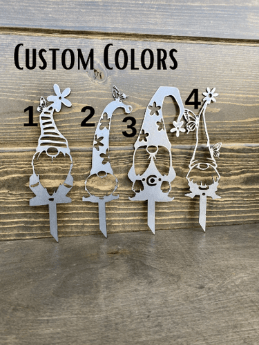 Pick your Colors Garden Gnomes Metal Stakes
