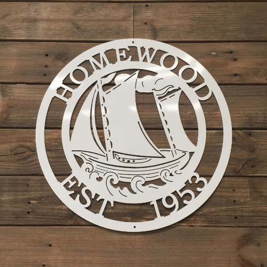 Sail Boat Personalized Metal Sign | Sailing Custom Metal Sign | Nautical Boating Sign | Welcome Beach Sign | Lake House Sign | Fishing Sign