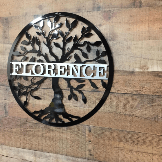 Metal Two Color Tree of life with Family Name -- Custom Metal Sign