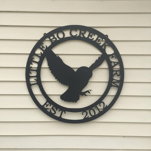 Flying Owl Metal Personalized Sign