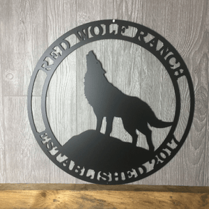 Personalized Howling Wolf Metal Ranch Sign-- Custom Metal Sign
