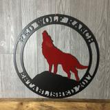 Metal Personalized Wolf Ranch Farm Sign