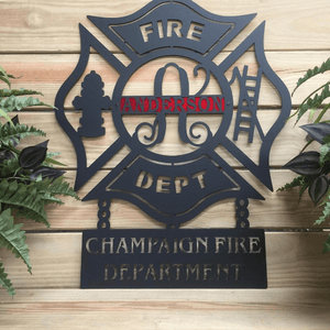 Personalized Maltese Cross Firefighter with Chain Plaque -- Custom Metal Design