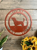 Hunting Beagle Metal Dog Sign
