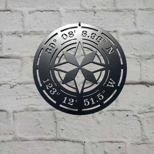 Star Compass GPS Coordinates Sign | Custom Metal Art