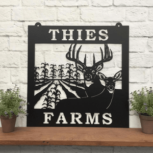 Deer & Corn Rows Farm Metal Sign