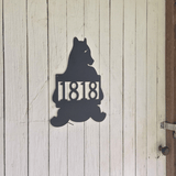 Bear Address Sign Metal Plaque