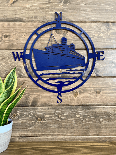 Ship Compass Wall Art -- Nautical Metal Wall Art