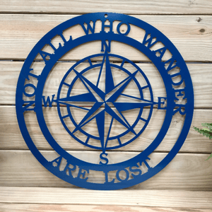 "Nautical Compass "" Not All Who Wander Are Lost"" Lake House Decor, Beach House  Wall Decor, Nautical Compass"