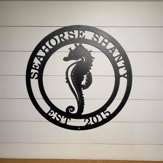 Seahorse Marine Life Sign | Coastal Decor | Nautical Wall Art | Ocean and Sea Animal Decor | Custom Metal Sign | Personalized Seahorse