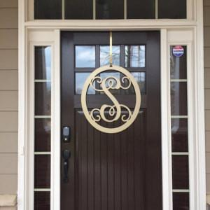"Oval Metal Monogram Door Wreath- Sizes 12"" to 36"" -  Over 90 Color Choices"
